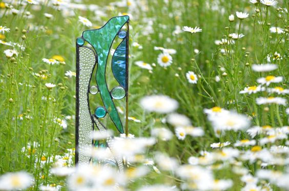Stained Glass Garden Sculpture Yard Art by WindsongGlassStudio