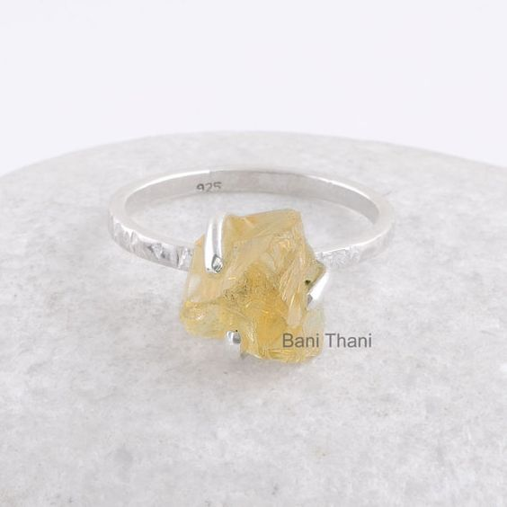 Stackable Ring Yellow Citrine Raw Gemstone 925 by BaniThani