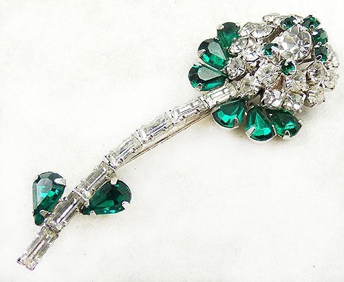 shades of green stunning Vintage Weiss emerald green rhinestone brooch and clip earrings