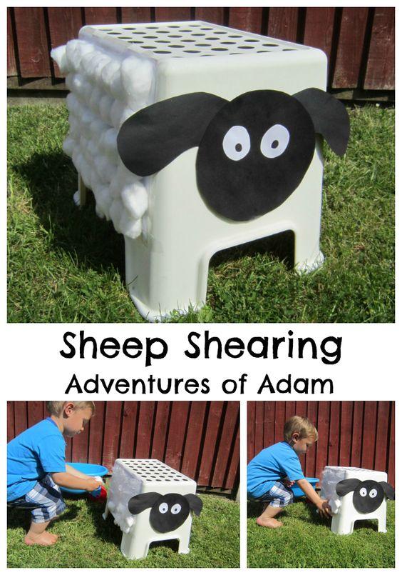 Sheep Shearing. An easy DIY activity to develop toddlers fine motor skills. Great for sheep fans   http://adventuresofadam.co.uk/sheep-shearing/