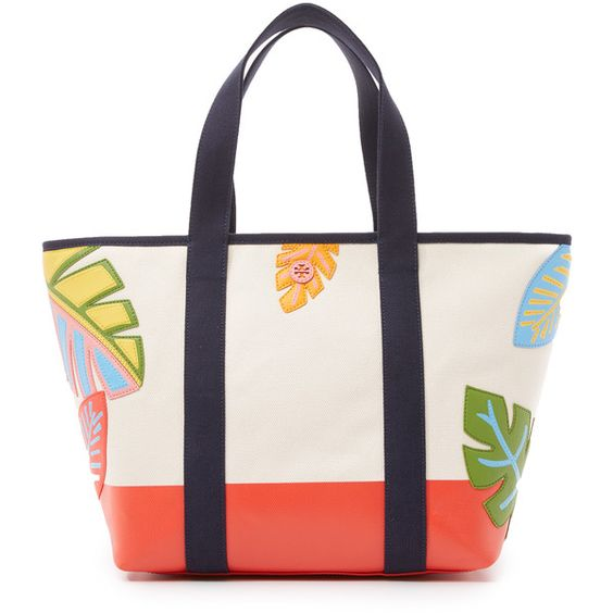 Tory Burch Leaf Applique Canvas Zip Tote (€310) ❤ liked on ...