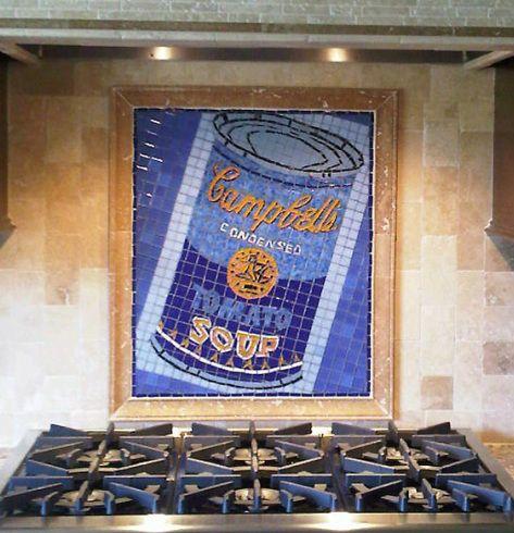 mosaic kitchen backsplash campbell's soup can