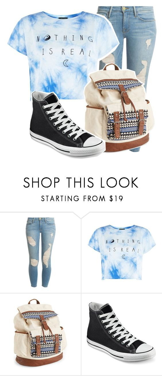 """Untitled #186"" by littlegenesis ❤ liked on Polyvore featuring Frame Denim, Aéropostale and Converse"
