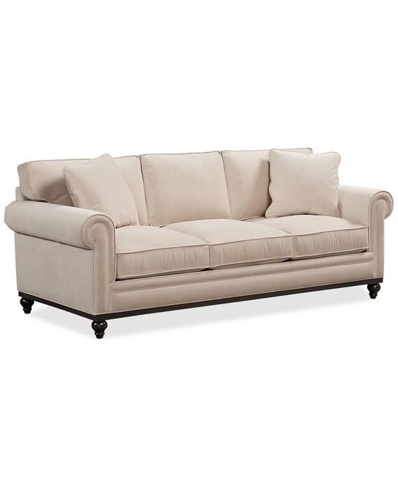 Martha Stewart Collection New Club Fabric Roll Arm Sofa