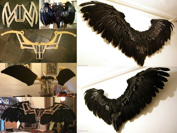 A couple of weeks of blood, sweat and tears went into these but they came good in the end. Articulated wings for some Halloween fancy dress fun.