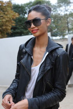 Style staples...a good leather jacket and aviators.: Black Leather Jackets, Hoodie Leather, Oakley Sunglasses, Chanel Iman, Rayban Sunglasses, Red Lipstick