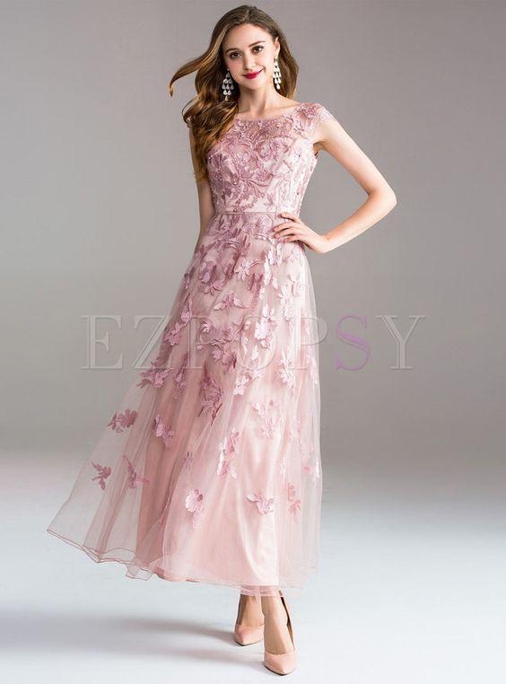 Elegant Gauze Embroidery Big Hem Prom Dress | Ezpopsy.com