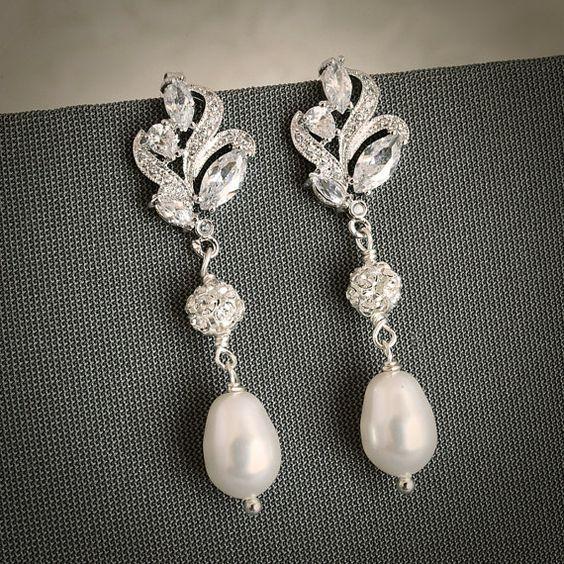 vintage bridal earrings on etsy: glamorous bijoux
