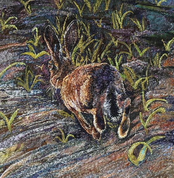 'A spring in his step' machine embroidered textile by Rachel Wright.: