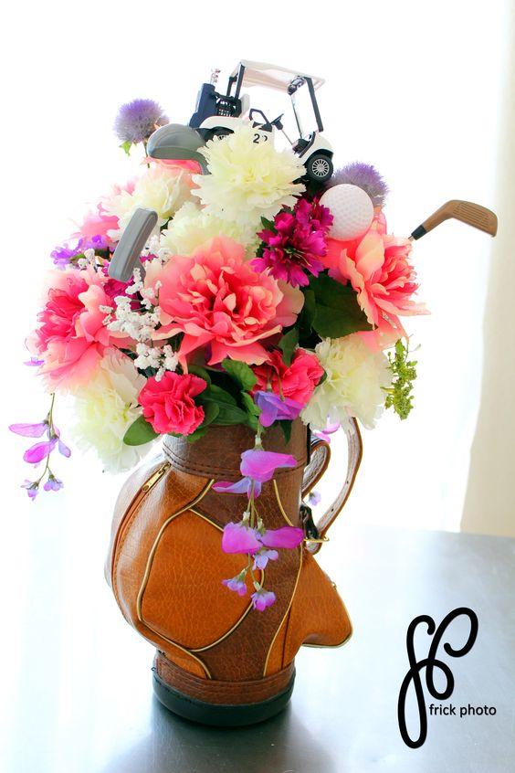 Golf course centerpiece flower arrangement