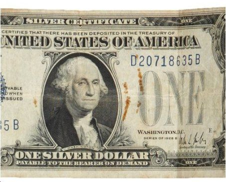 A bloodstained one dollar silver certificate stained with Dillinger's blood