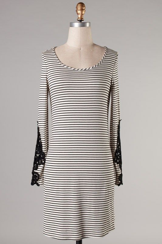 LS Stripe Dress w/ Crochet