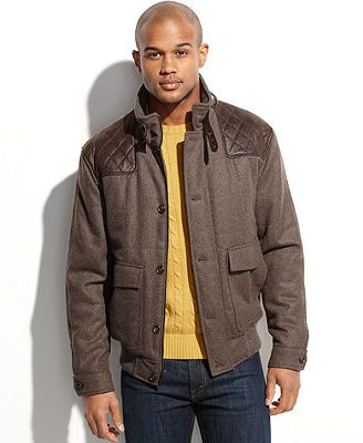 London Fog Big and Tall Jacket, Heritage Blanchard Faux Suede Shoulder Patch Wool-Blend Bomber