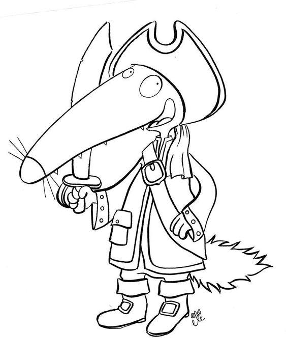 Loup pirate dessin alphabeth pinterest pirates - Coloriages loup ...