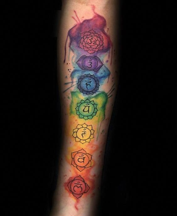 Male With Watercolor Chakras Tattoo On Inner Forearms