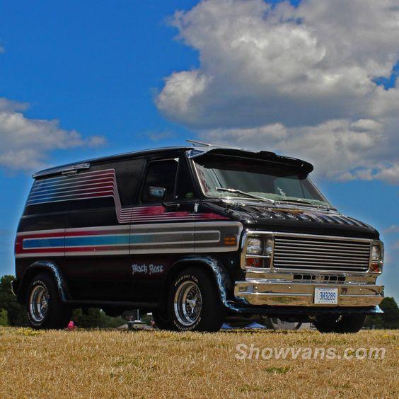 """""""Black Rose"""" custom 70's Chevy van"""