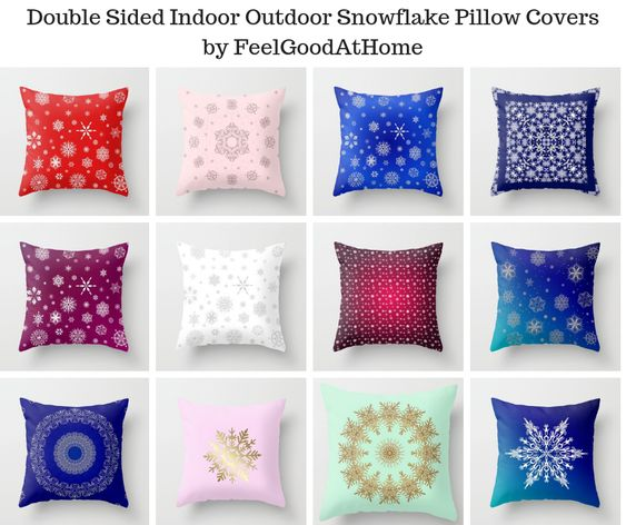 Double Sided Indoor Outdoor Snowflake Pillow Covers by FeelGoodAtHome