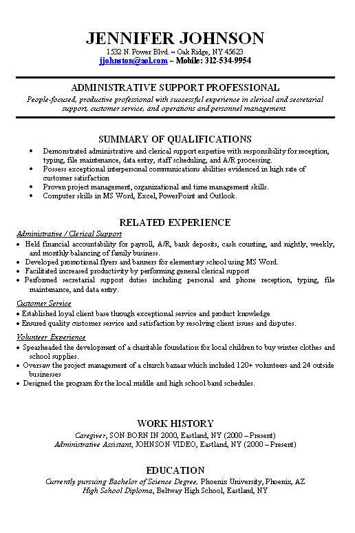 Resume examples work experience – Resume Introduction Example