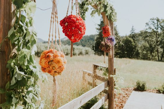 Floral macrame balls at a barn wedding | Tin Roof Barn, Columbia River Gorge