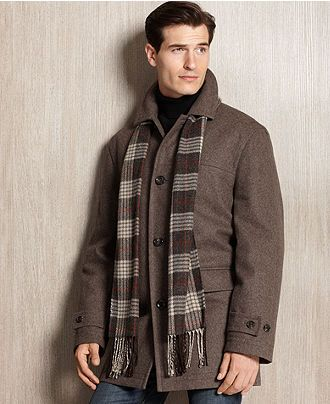 London Fog Coat Lynwood Wool-Blend Car Coat with Scarf - Mens