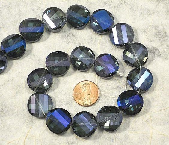16 Crystal Twisted Coin Purple & Blue Iris 20mm by simpsonstudios, $11.75