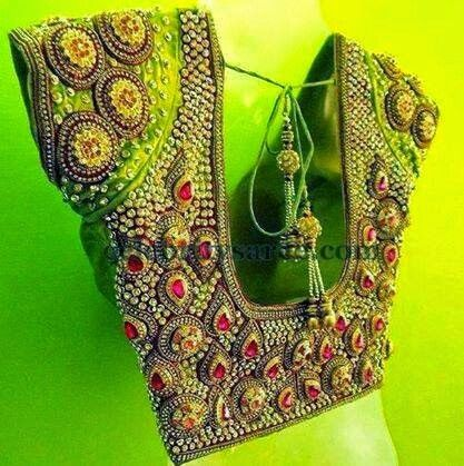Zircon stone maggam work blouse | wedding decorations | Pinterest ...