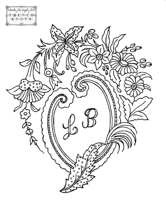 Free Hand Embroidery Patterns | Vintage Hanky Monogram Embroidery Transfer Patterns