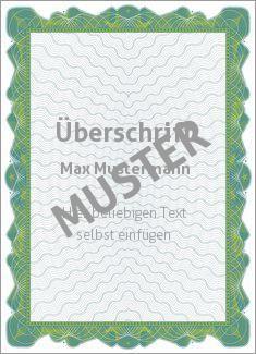Muster Zertifikat, Diplom, Urkunde Diplom, Zertifikat Wertpapier, grüner Rahmen