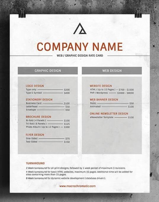 Download Pack Of 25 Rate Card Templates In 1 Click Rate Card Rate Card Design Web Design Logo