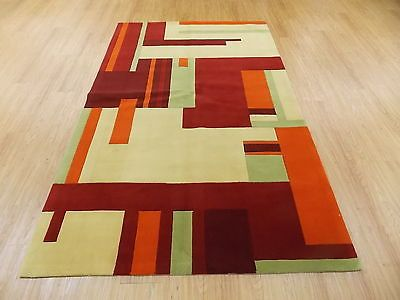 5x8 Orange Red Green Yellow Modern Hand Tufted Wool Area Rug - Red And Green Rugs Roselawnlutheran