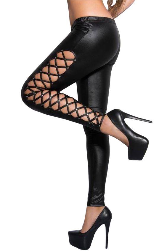 €12.85 @Modebuy #modebuy  Leggings elegant Laçage Sides Noir Wet Look #followalways #likeall #tbt #Jaune #likeforlike #commenting #vente #photooftheday #styles #mode #comment #skirt #c4c