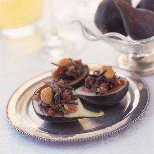Peras rellenas de chocolate