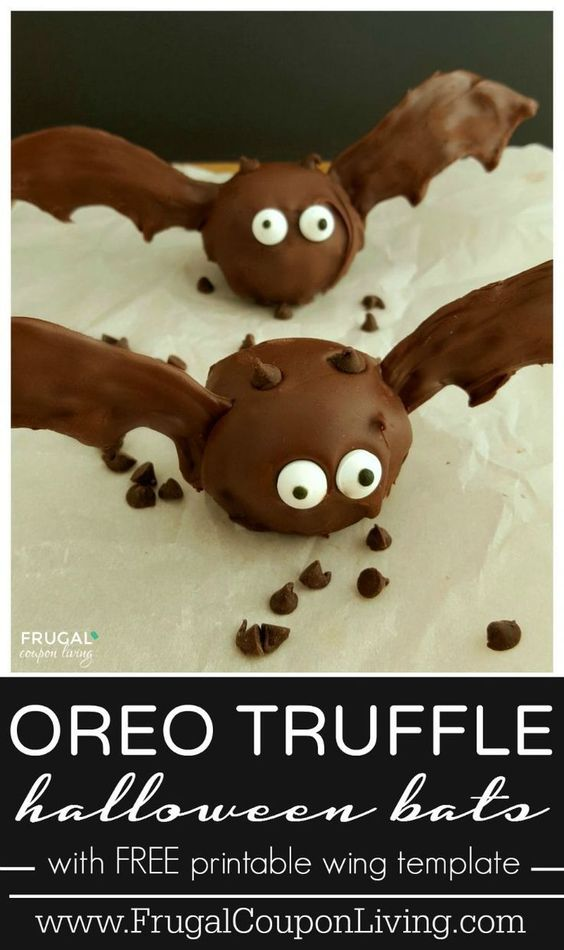 Halloween OREO Bat Truffles on Fugal Coupon Living - an easy Kids Food Craft for Halloween. Great Halloween Party Idea