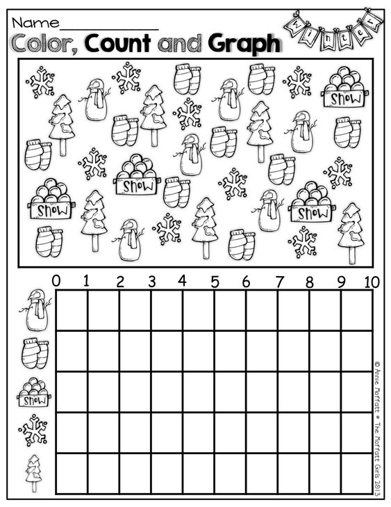Color count and graph winter items – Graphing Worksheet Kindergarten
