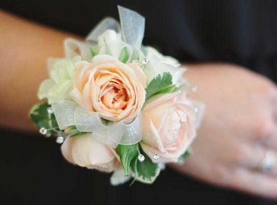 Blush cream rose wrist corsage