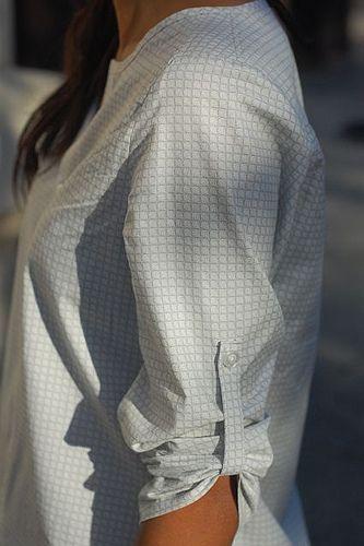 shirt refashion--use cuffs to create the sleeve tab