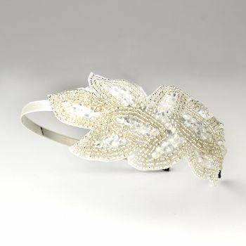 Silver Ivory White AB Headband Headpiece 4025
