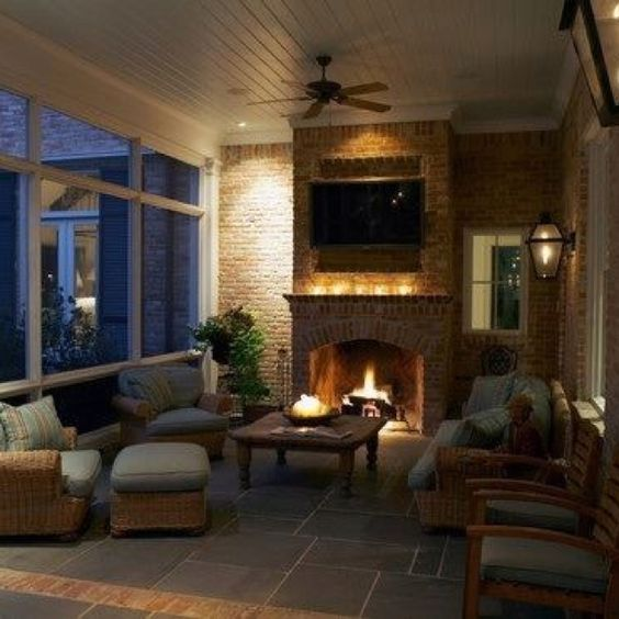 Screened in back porch with fireplace for the home for Back porch fireplace