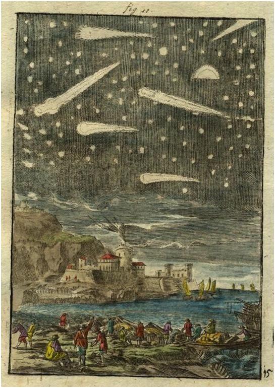 Description de L'Univers View of comets, 1719 by Alain Manesson Mallet, Paris 1683