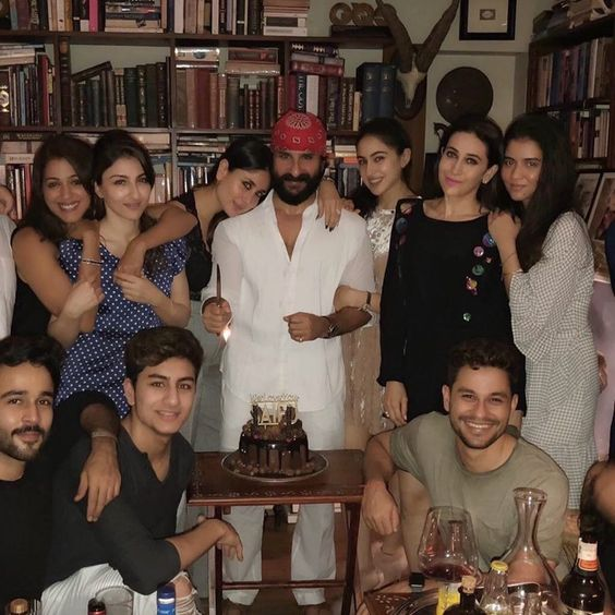 """As Saif Ali Khan gets a year older, his family and friends didn't leave a single idea to make him happy. Kareena Kapoor Khan, Karisma Kapoor, Soha Ali Khan, Kunal Kemmu, Sara Ali Khan and Ibrahim Ali Khan made the day a memorable one for him as they surprised him with a lovely birthday cake with the words, """"We Love You Saifu"""". Now, how sweet is that!"""