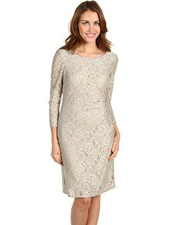 Tahari by ASL Petite 3/4 Sleeve Lace Bodice with Side Ruche