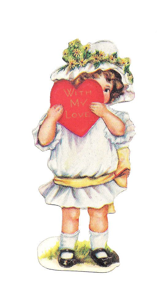 Free Vintage Valentine Graphic: Valentine Greeting Girl Holding Red Heart...She would look so sweet on a card!