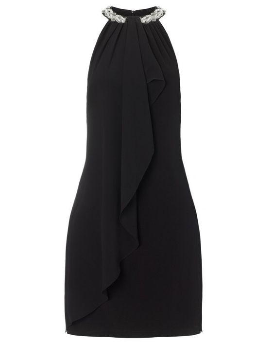 Pin for Later: 30 of the Best Little Black Party Dresses  Hailey black embellished halter-neck cocktail dress (£100)