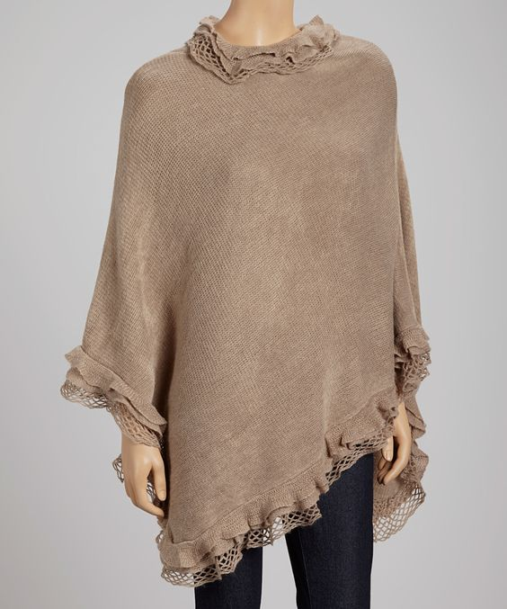 Beige Lattice Ruffle Poncho | Daily deals for moms, babies and kids