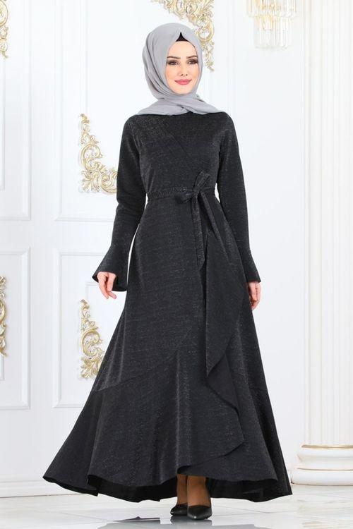 Modaselvim Elbise Yandan Firfirli Simli Elbise 2159ms212 Siyah Peplum Elbise The Dress Elbise