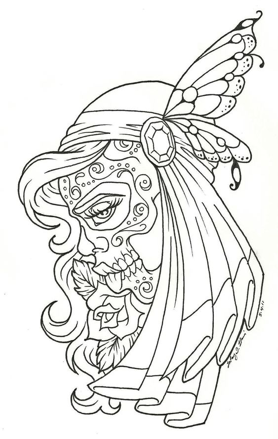 day of the dead printable coloring pages - coloration coloriage and calavera on pinterest