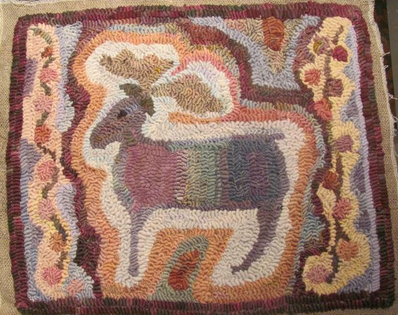 Spirit Moose - Free pattern on The Welcome Mat by Wanda Kerr: Hooking Rug, Hand Hooked Rugs, Rugs 17, Hooked Rugs 6, Rugs Contemporary, Hooked Rugs Animals, Rugs Iii, Rug Hooking