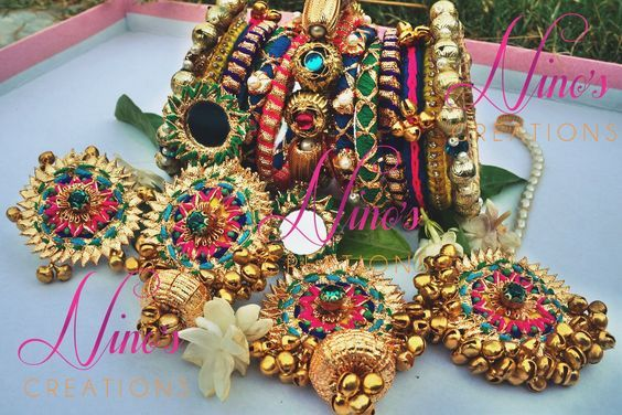 Unique Jewellery Styles To Flaunt At Your Mehendi Ceremony Thread Bangles Design Fabric Jewelry Flower Jewelry Diy