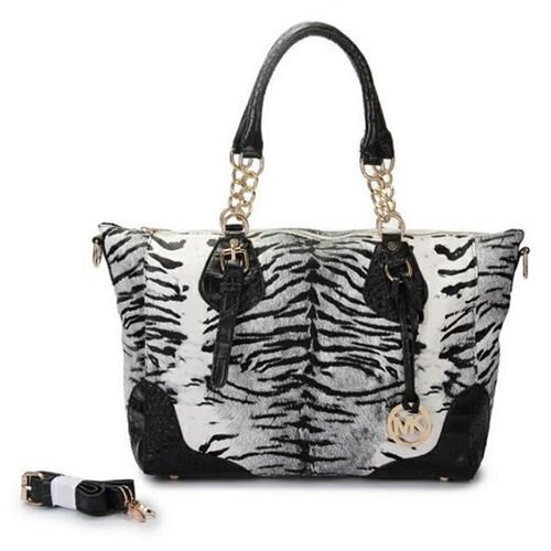 Michael Kors Darwin Tiger Tattoo Leather Large Grey Totes