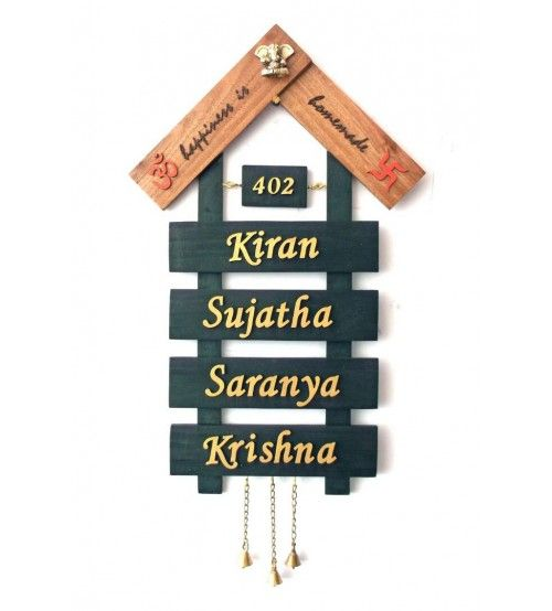 Wooden House Shape 4 Tier Name Plate Name Plates For Home Name Plate Design Door Name Plates